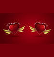 couple hearts on red background valentines day vector image