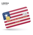 Credit card with Liberia flag background for bank vector image vector image