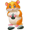 cute hamster holding sunflower seeds vector image