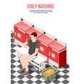 daily washing isometric composition vector image vector image
