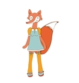 Elegant card with cute fox character vector image vector image