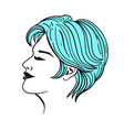 female short haircut in blue isolate on a white vector image