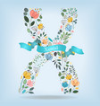 floral letter x with blue ribbon vector image vector image