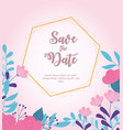 flowers wedding save date border decorative vector image