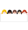 Girls with white empty banner vector image vector image