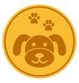 golden puppycoin flat icon vector image