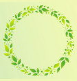 green background with circle frame of green leaves vector image vector image