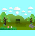 green landscape meadow with trees and clouds vector image