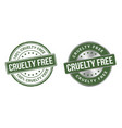 grunge stamp and silver label cruelty free vector image vector image