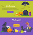 halloween banner with holiday symbols vector image