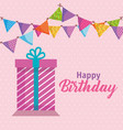 happy birthday gift and garlands celebration card vector image