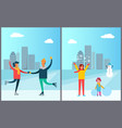 happy couple dancing on skates mother and daughter vector image vector image