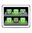 Headphones green app icons vector image vector image