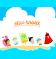hello summer multicultural cute kids template vector image vector image