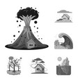 isolated object of natural and disaster symbol vector image vector image