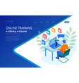 isometric web banner online training or education vector image