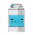 kawaii milk carton in colored crayon silhouette vector image vector image