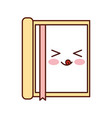kawaii notebook with bookmark office cartoon vector image