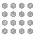 line web icon set on gray hexagon vector image vector image