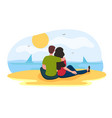 lovers sitting on sand beach and admire sunset vector image vector image