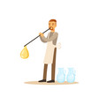 man blowing glass vessel glass blower craft hobby vector image vector image