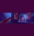 medieval night castle interior wooden arched door vector image vector image