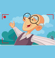 old senior man taking a selfie outside vector image vector image
