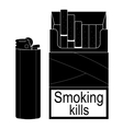 Open cigarettes pack with gas lighter Black vector image vector image