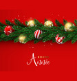 red christmas wreath ornament banner in french vector image vector image