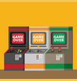 retro arcade machine set flat style vector image