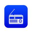 retro radio icon digital blue vector image vector image