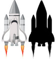 rocket with its silhouette on white background vector image
