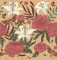seamless floral pattern with lilies and peonies vector image