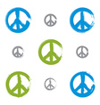 Set of hand drawn simple colorful peace icons vector image