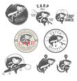 set vintage carp fishing design elements vector image vector image