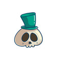 skull with cyllinder hat vector image