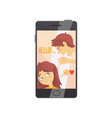 smartphone with opened love chat and cute boy and vector image vector image