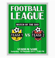 soccer league poster football invitation card vector image vector image