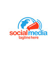 social media logo globe and megaphone vector image