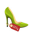 stiletto shoe with price tag 50 off isolated on vector image