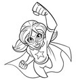 super girl flying line art vector image vector image