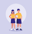 teenagers couple with soccer balloon vector image vector image