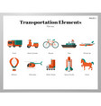 transportation elements flat pack vector image