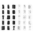variety of terminals blackoutline icons in set vector image vector image