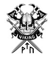 viking sword skroll axe vector image