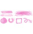 watercolor strokes in pink color vector image