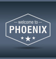 welcome to phoenix hexagonal white vintage label vector image vector image