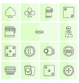 14 risk icons vector image vector image