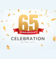 65 anniversary gold numbers with golden confetti vector image vector image