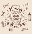 barbershop hipster style design vector image vector image